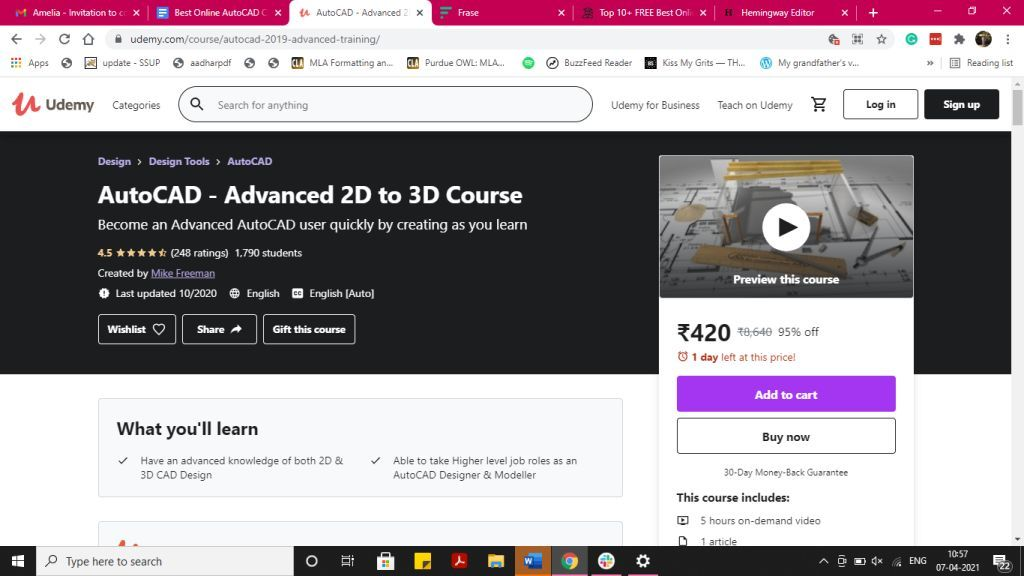 2D to 3D AutoCAD Course