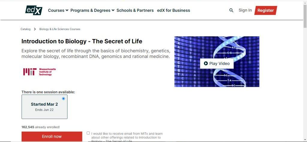 Introduction to Biology - The Secret of Life (edx)