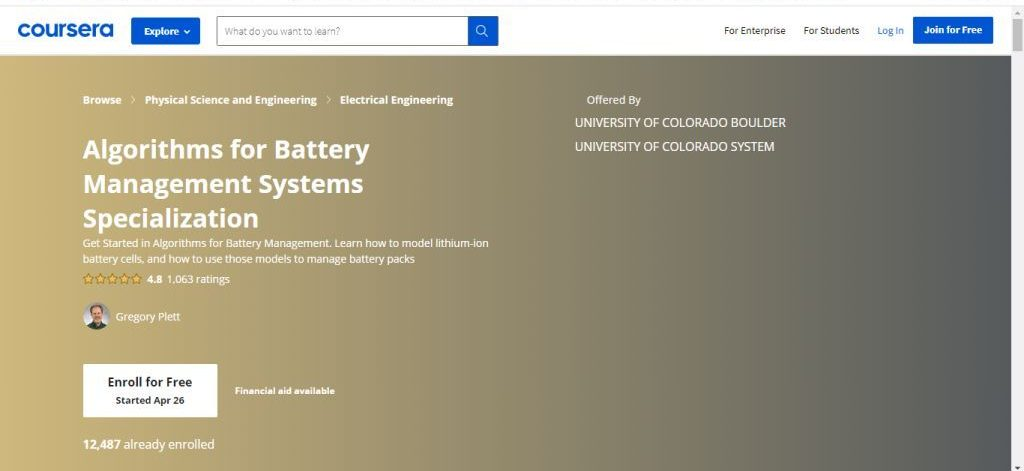 Algorithms for Battery Management Systems Specialization
