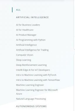 entire list of courses that come under each topic