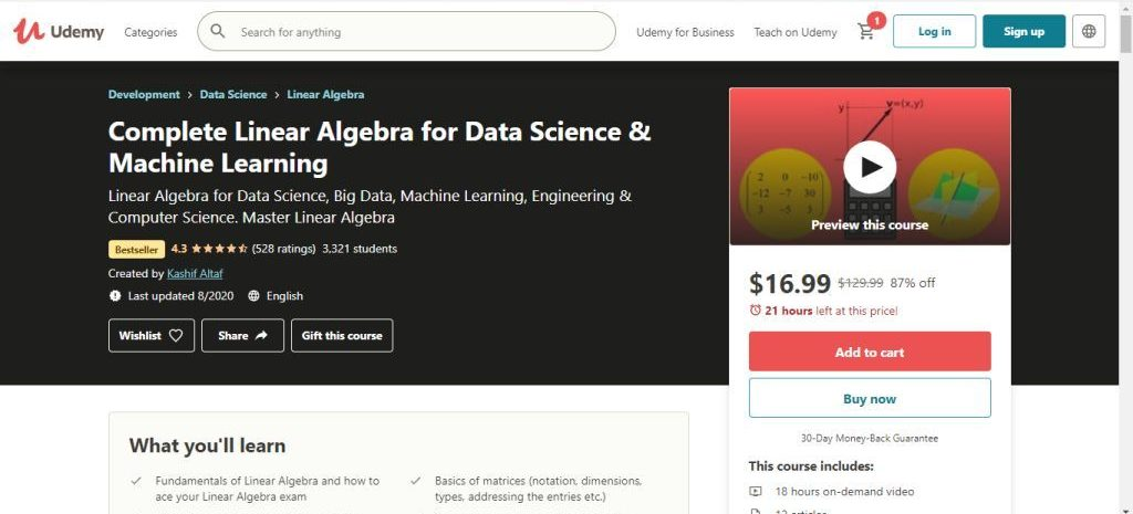 Complete Linear Algebra for Data Science & Machine Learning