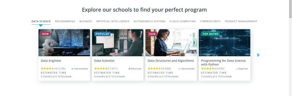 career services, Udacity enterprise services, and the Udacity for Government service