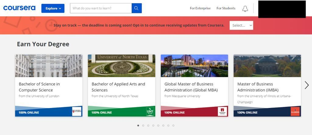 Coursera - Earn your Degree