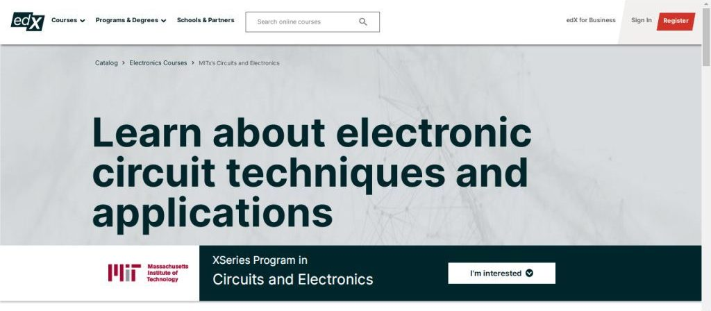 XSeries Program in Circuits and Electronics