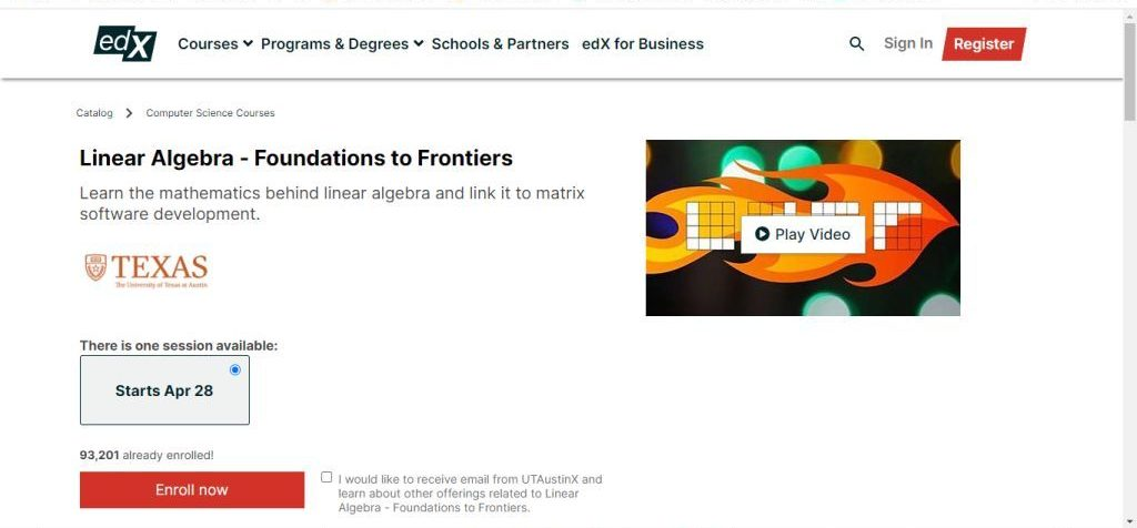 Linear Algebra - Foundation to Frontiers