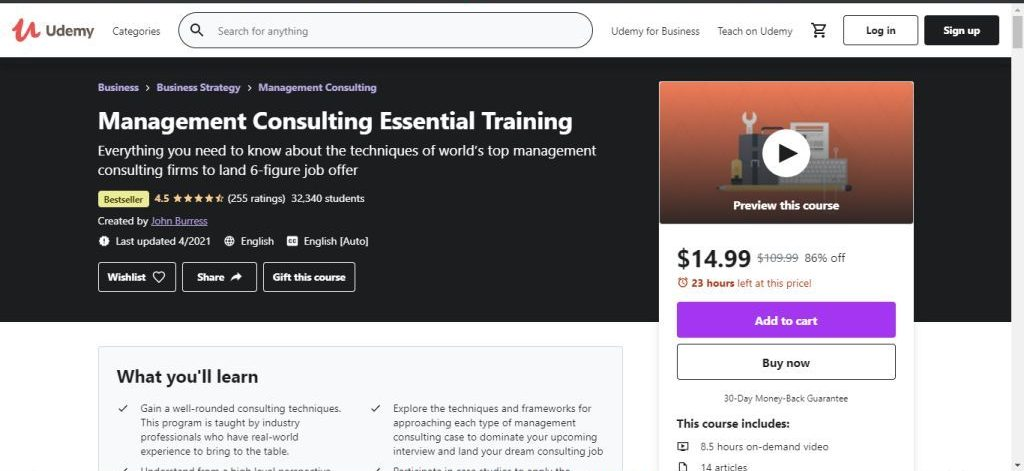 Management Consulting Essential Training (Udemy)