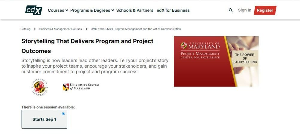 Storytelling That Delivers Program and Project Outcomes (edX)