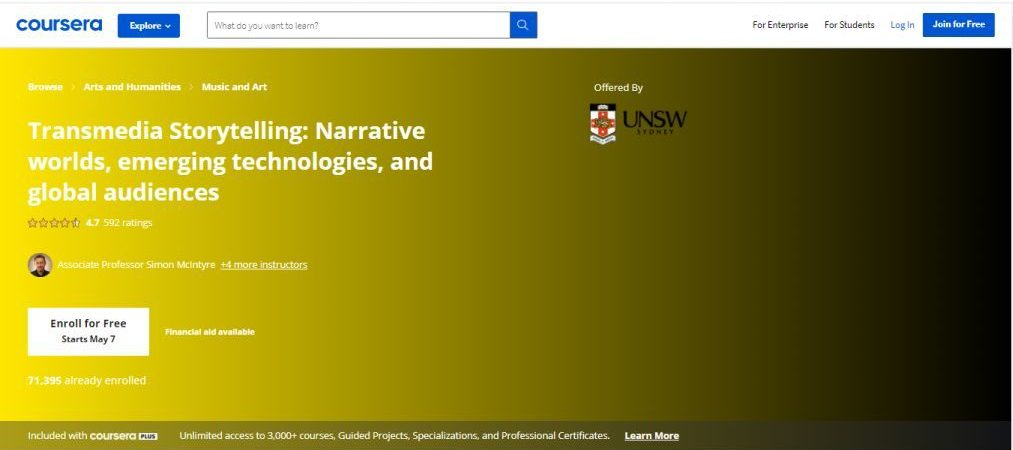 Transmedia Storytelling - Narrative worlds, Emerging Technologies, and Global Audiences (Coursera)
