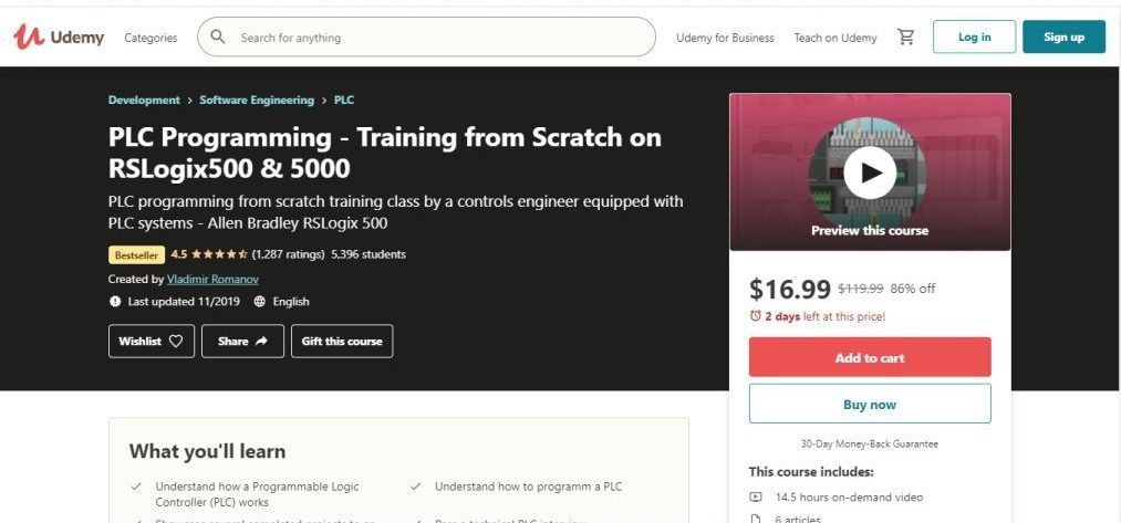 PLC Programming - Training from Scratch on RSLogix500 & 5000 (Udemy)